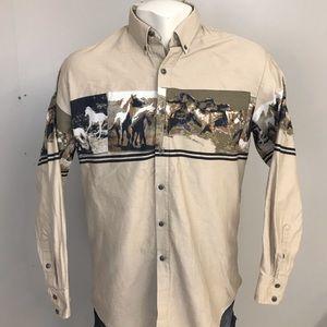Vintage Roper Western Cowboy Button Shirt Large